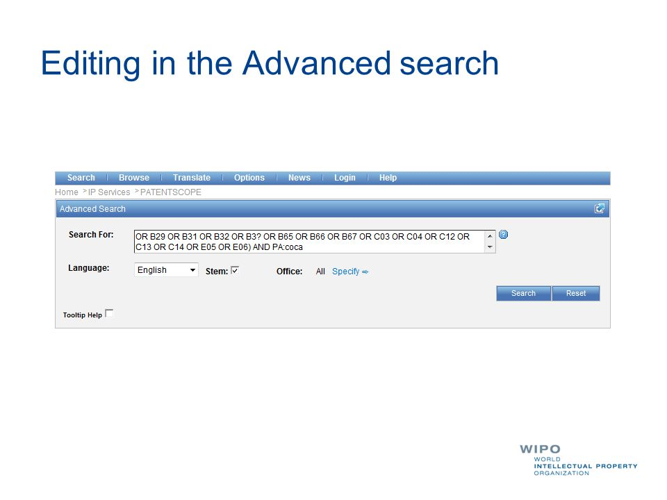 Editing in the Advanced search