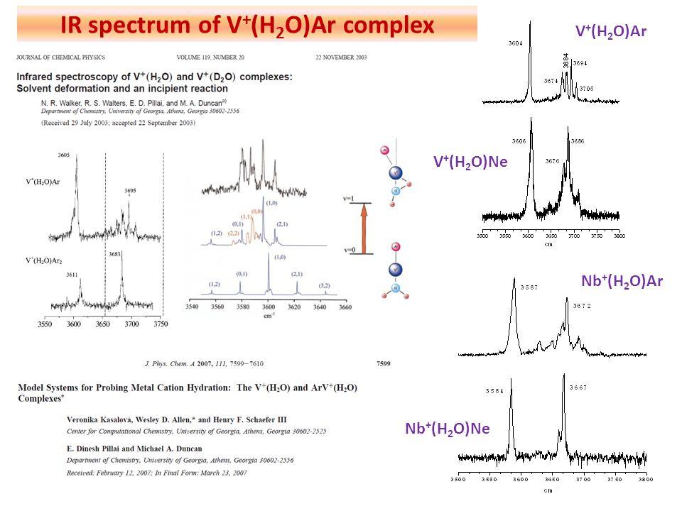 V + (H 2 O)Ar V + (H 2 O)Ne IR spectrum of V + (H 2 O)Ar complex Nb + (H 2 O)Ar Nb + (H 2 O)Ne