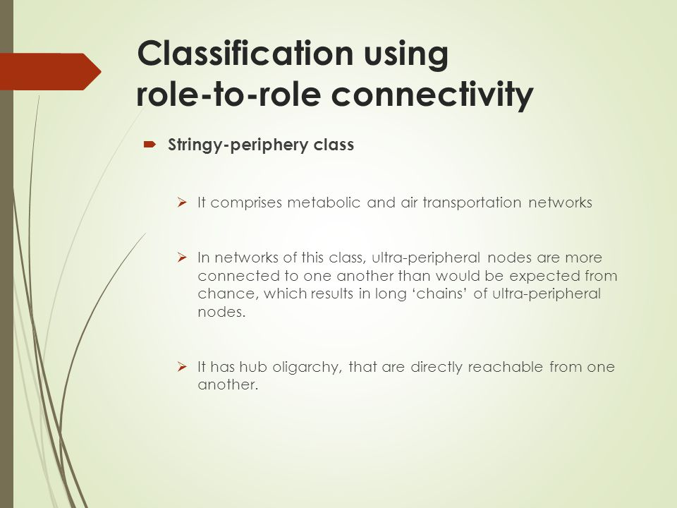 Classification using role-to-role connectivity Stringy-periphery class It comprises metabolic and air transportation networks In networks of this class, ultra-peripheral nodes are more connected to one another than would be expected from chance, which results in long chains of ultra-peripheral nodes.