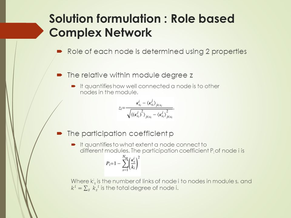 Solution formulation : Role based Complex Network