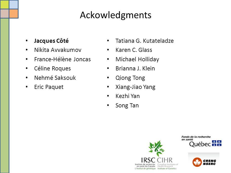 Ackowledgments Jacques Côté Nikita Avvakumov France-Hélène Joncas Céline Roques Nehmé Saksouk Eric Paquet Tatiana G.