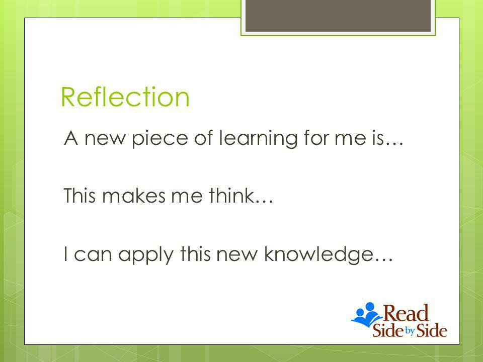 Reflection A new piece of learning for me is… This makes me think… I can apply this new knowledge…