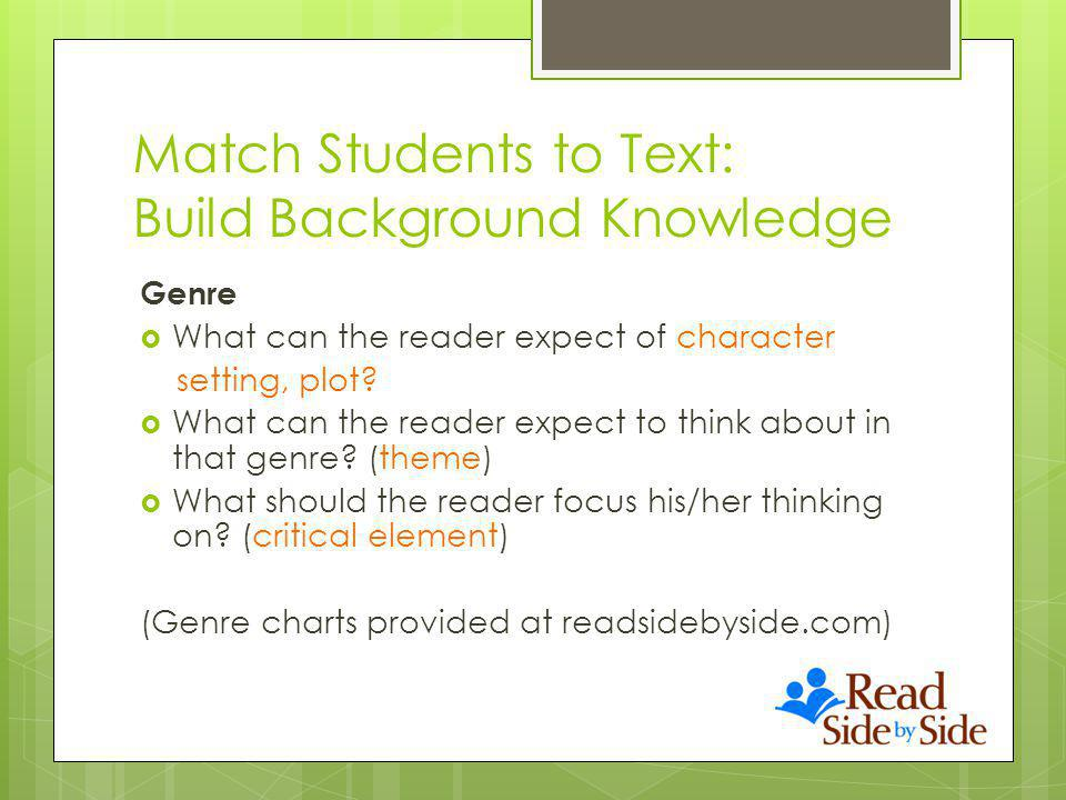 Match Students to Text: Build Background Knowledge Genre What can the reader expect of character setting, plot.