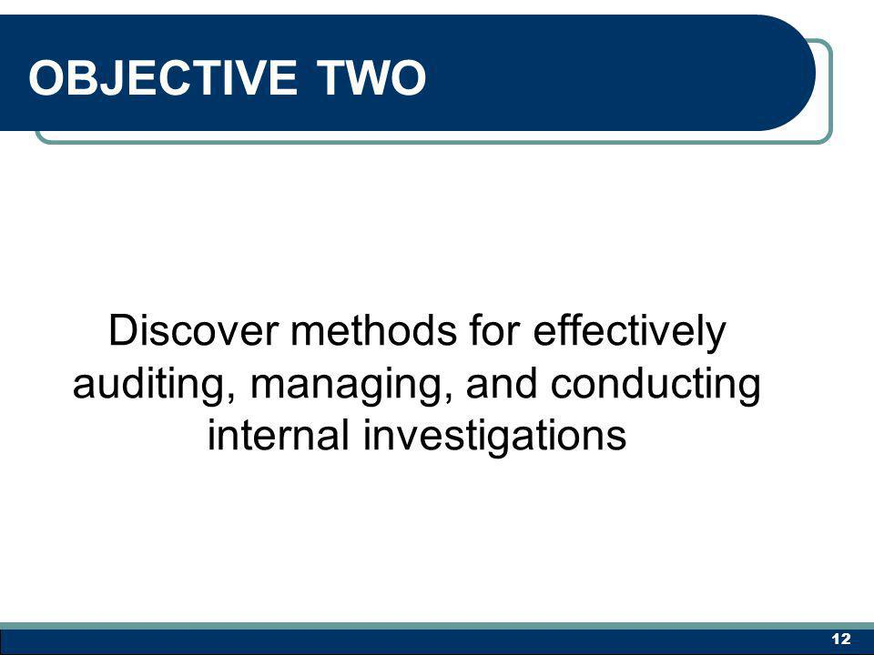 OBJECTIVE TWO Discover methods for effectively auditing, managing, and conducting internal investigations 12
