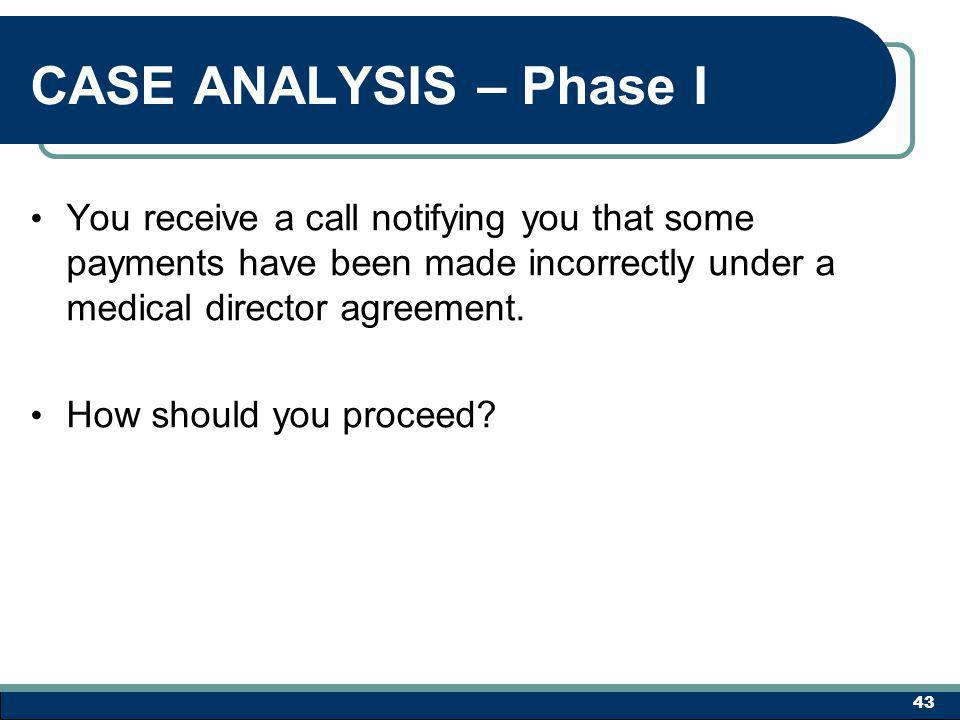 CASE ANALYSIS – Phase I You receive a call notifying you that some payments have been made incorrectly under a medical director agreement.