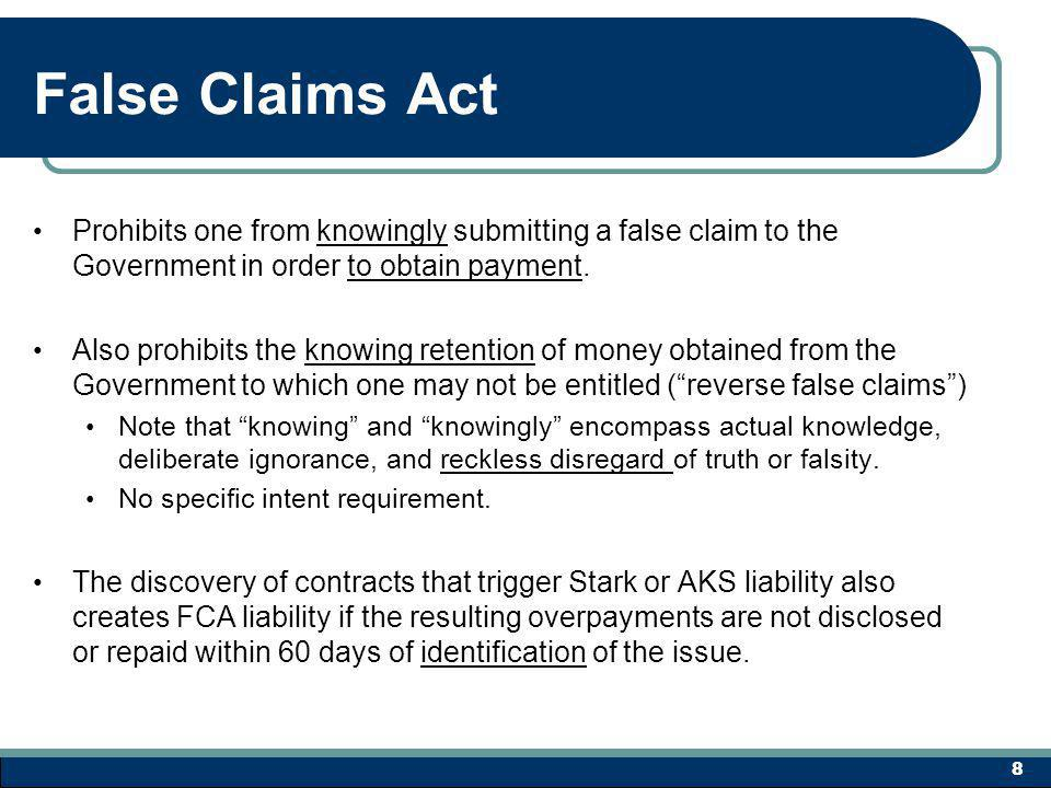 RESOLVING THE PROBLEM – 2 Option 1 - Fix and move forward False Claims Act requires an affirmative repayment within 60 days of any claim identified as an overpayment Stark Law violations are deemed to result in overpayments Therefore, the fix and move forward option is no longer an acceptable fix No exceptions for technical errors 39