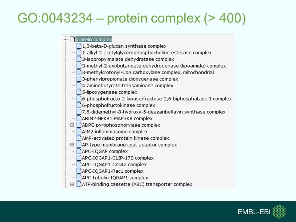 GO:0043234 – protein complex (> 400)