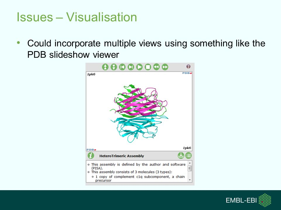 Issues – Visualisation Could incorporate multiple views using something like the PDB slideshow viewer