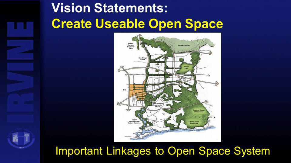 Vision Statements: Create Useable Open Space Important Linkages to Open Space System