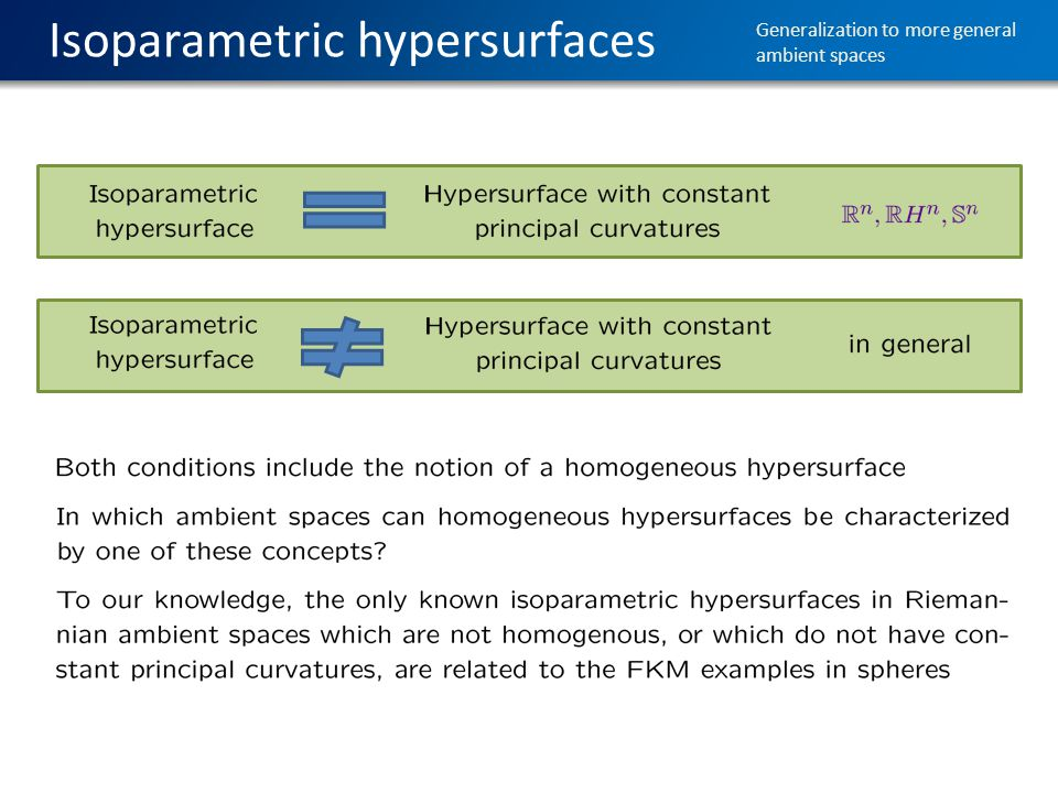Isoparametric hypersurfaces Generalization to more general ambient spaces