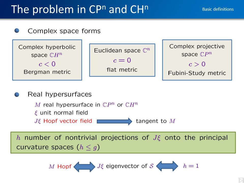 The problem in CP n and CH n Basic definitions