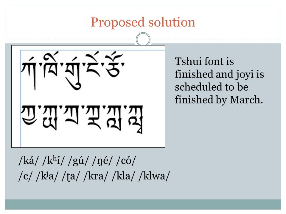 Proposed solution Tshui font is finished and joyi is scheduled to be finished by March. /ká/ /k h í/ /gú/ /ŋé/ /có/ /c/ /k j a/ / ʈ a/ /kra/ /kla/ /kl