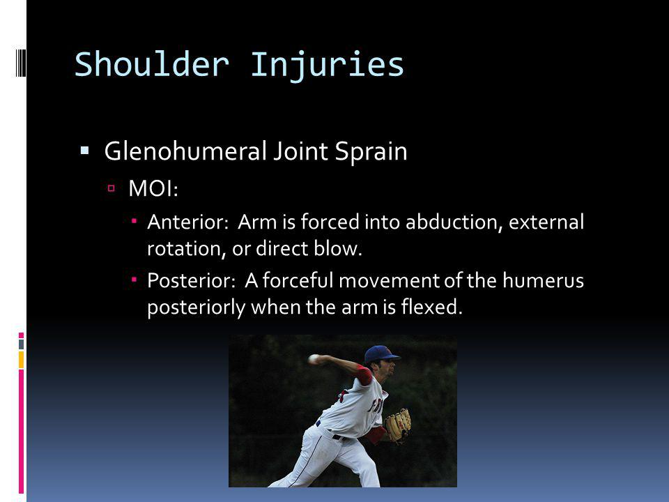 Shoulder Injuries Glenohumeral Joint Sprain MOI: Anterior: Arm is forced into abduction, external rotation, or direct blow. Posterior: A forceful move