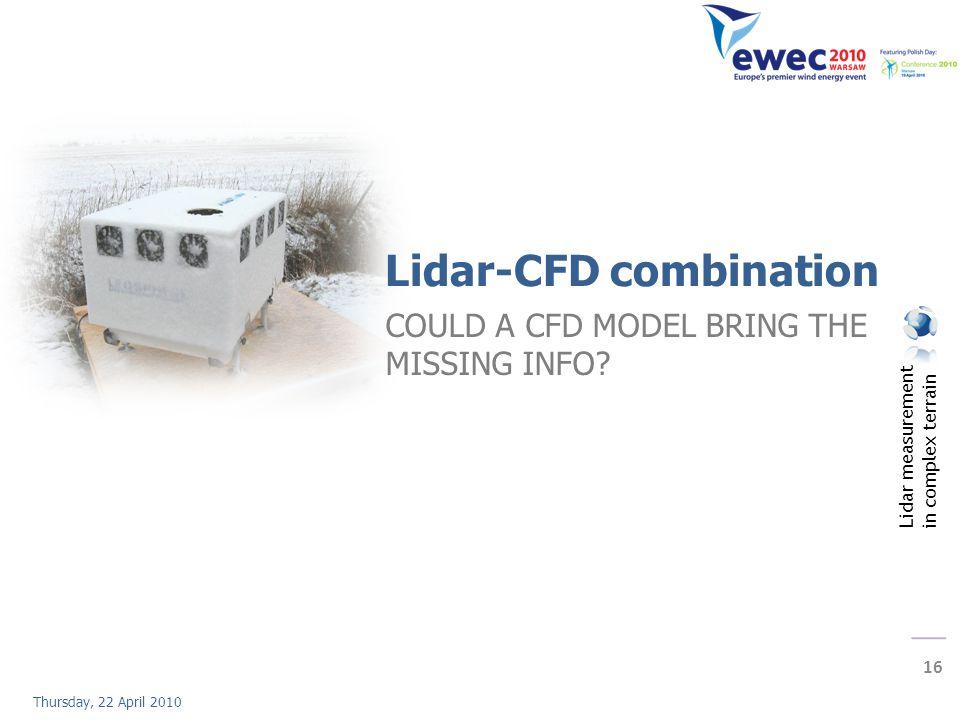 Lidar measurement in complex terrain 16 Thursday, 22 April 2010 Lidar-CFD combination COULD A CFD MODEL BRING THE MISSING INFO?