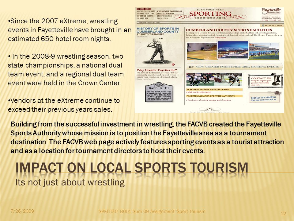Its not just about wrestling SPMT607 B001 Sum 09 Assignment: Sport Tourism 7/26/2009 12 Since the 2007 eXtreme, wrestling events in Fayetteville have