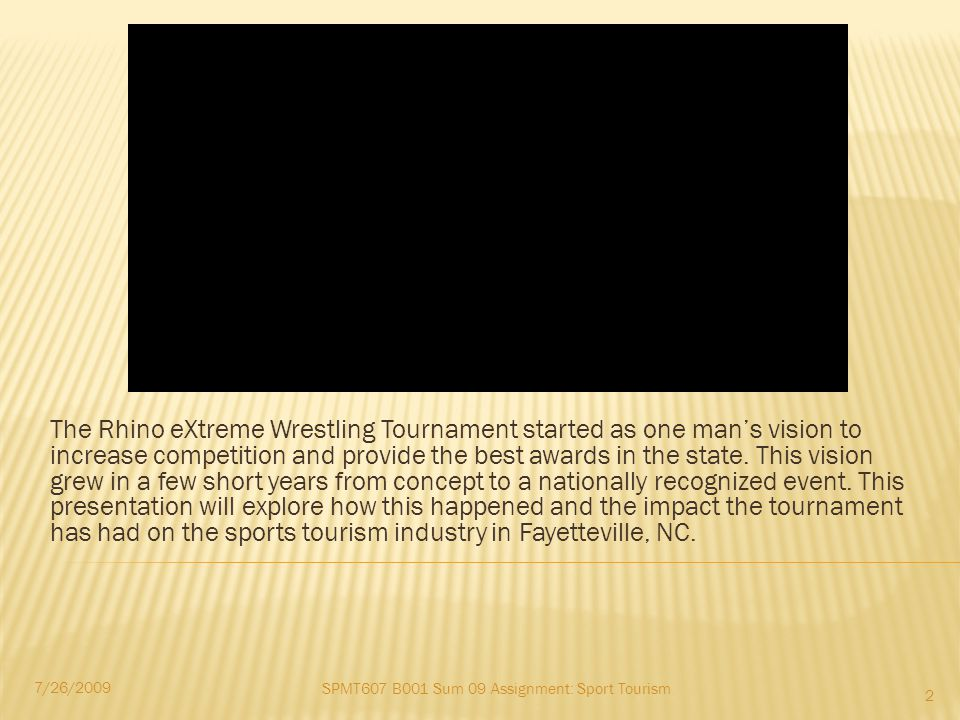 Background Initial Execution Resulting Growth Impact In the Background Buy in and Expansion Tournament Impact Sports Tourism Impact Growth in the State The Future Lessons Learned & Acknowledgements 7/26/2009 3 SPMT607 B001 Sum 09 Assignment: Sport Tourism