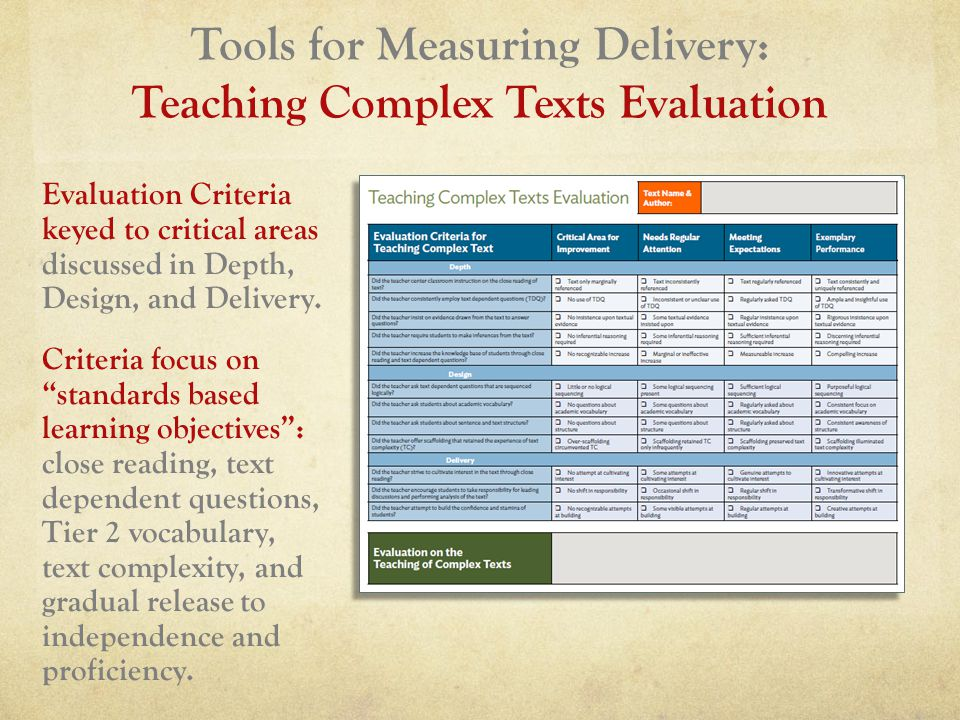 Tools for Measuring Delivery: Teaching Complex Texts Evaluation Evaluation Criteria keyed to critical areas discussed in Depth, Design, and Delivery.