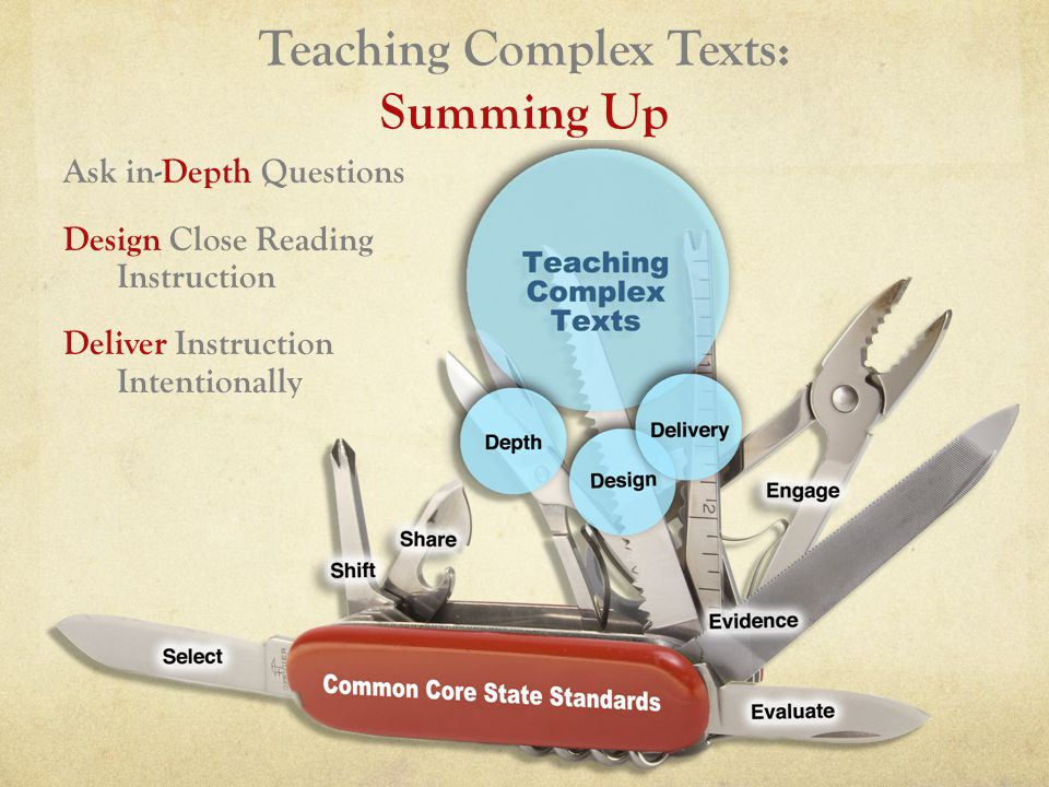 Teaching Complex Texts: Summing Up Ask in-Depth Questions Design Close Reading Instruction Deliver Instruction Intentionally
