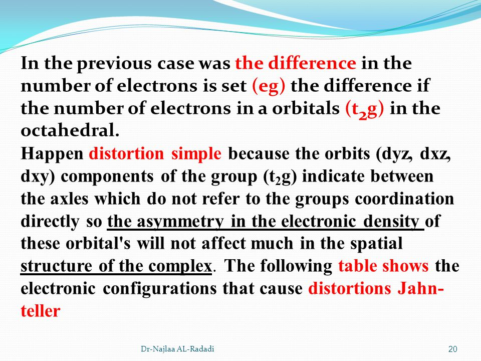 Dr-Najlaa AL-Radadi20 In the previous case was the difference in the number of electrons is set (eg) the difference if the number of electrons in a or