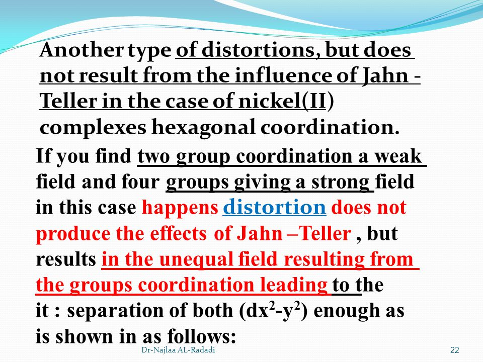 Dr-Najlaa AL-Radadi22 Another type of distortions, but does not result from the influence of Jahn - Teller in the case of nickel(II) complexes hexagon