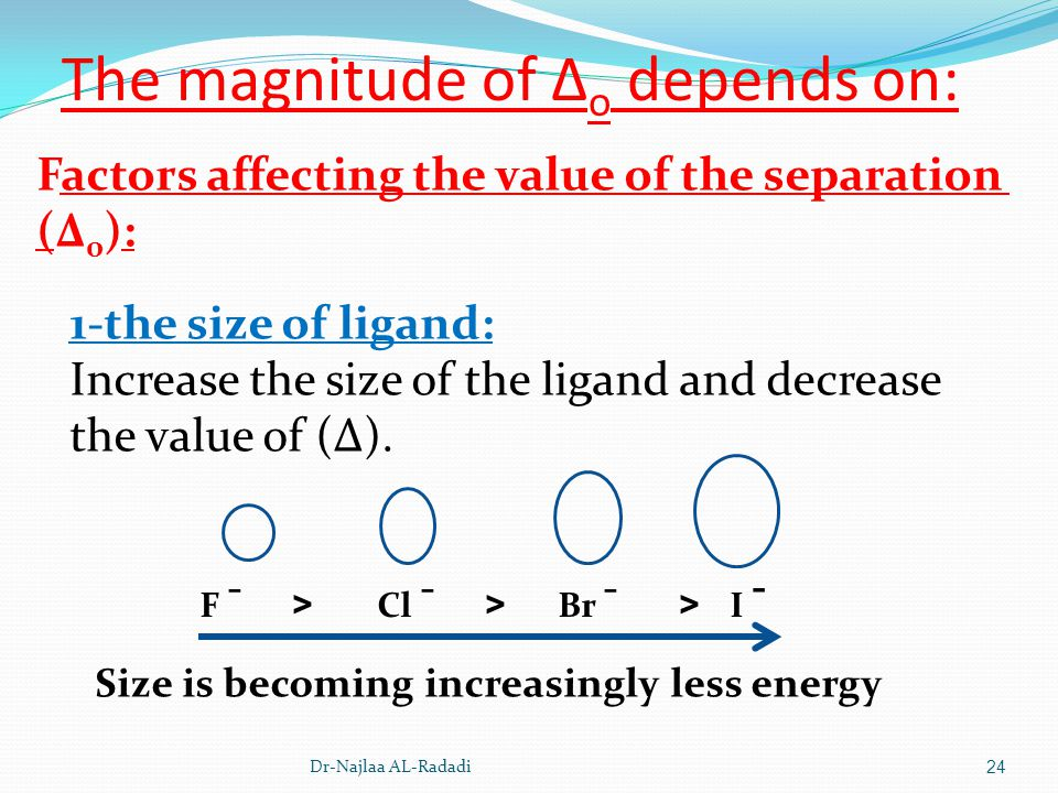 Dr-Najlaa AL-Radadi24 The magnitude of Δ o depends on: Factors affecting the value of the separation (Δ 0 ): 1-the size of ligand: Increase the size o