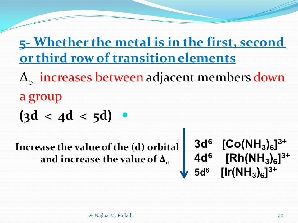 Dr-Najlaa AL-Radadi28 5- Whether the metal is in the first, second or third row of transition elements Δ o increases between adjacent members down a g