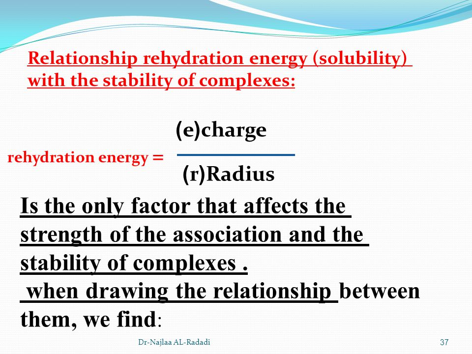 Dr-Najlaa AL-Radadi37 Relationship rehydration energy (solubility) with the stability of complexes: charge(e) Radius(r) rehydration energy = Is the on