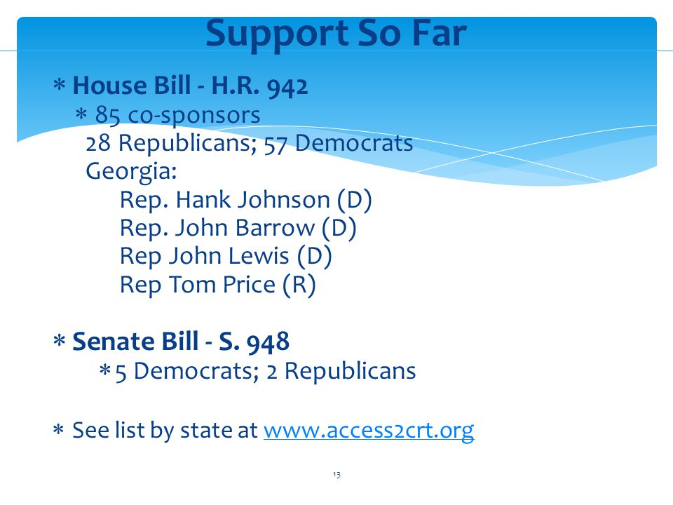House Bill - H.R. 942 85 co-sponsors 28 Republicans; 57 Democrats Georgia: Rep.