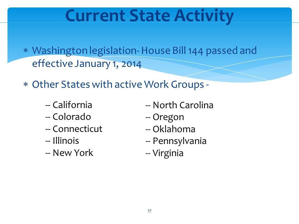 Washington legislation- House Bill 144 passed and effective January 1, 2014 Other States with active Work Groups - Current State Activity -- California -- Colorado -- Connecticut -- Illinois -- New York -- North Carolina -- Oregon -- Oklahoma -- Pennsylvania -- Virginia 33