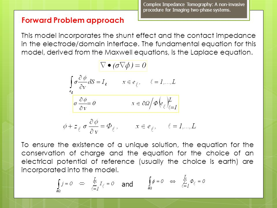 Forward Problem approach To ensure the existence of a unique solution, the equation for the conservation of charge and the equation for the choice of an electrical potential of reference (usually the choice is earth) are incorporated into the model.