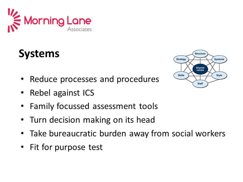 Systems Reduce processes and procedures Rebel against ICS Family focussed assessment tools Turn decision making on its head Take bureaucratic burden away from social workers Fit for purpose test