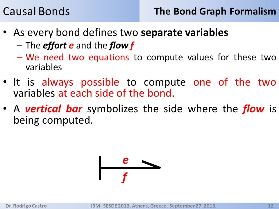 Dr. Rodrigo Castro I3M–SESDE 2013. Athens, Greece. September 27, 2013. 12 As every bond defines two separate variables – The effort e and the flow f –