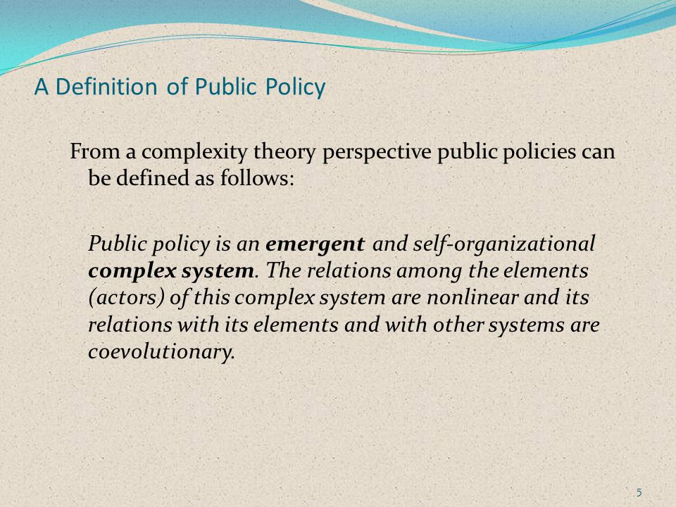 A Definition of Public Policy From a complexity theory perspective public policies can be defined as follows: Public policy is an emergent and self-organizational complex system.