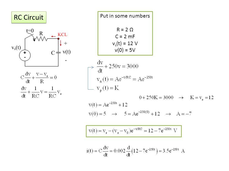 RC Circuit Put in some numbers R = 2 C = 2 mF v s (t) = 12 V v(0) = 5V