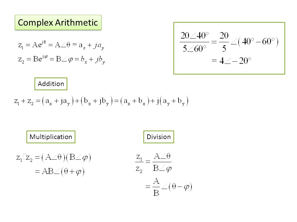 Complex Arithmetic Addition MultiplicationDivision