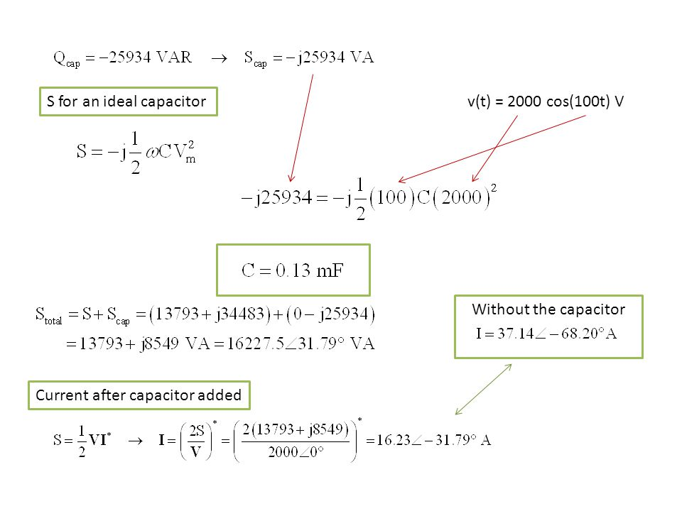S for an ideal capacitor v(t) = 2000 cos(100t) V Current after capacitor added Without the capacitor