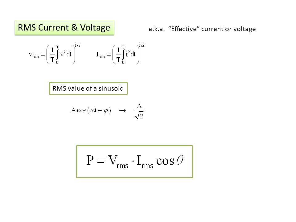 RMS Current & Voltage a.k.a. Effective current or voltage RMS value of a sinusoid