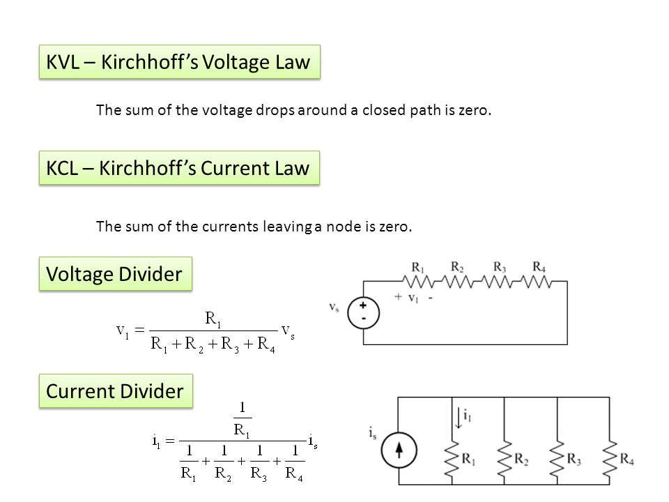 KVL – Kirchhoffs Voltage Law The sum of the voltage drops around a closed path is zero.