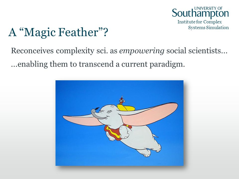 Institute for Complex Systems Simulation A Magic Feather.