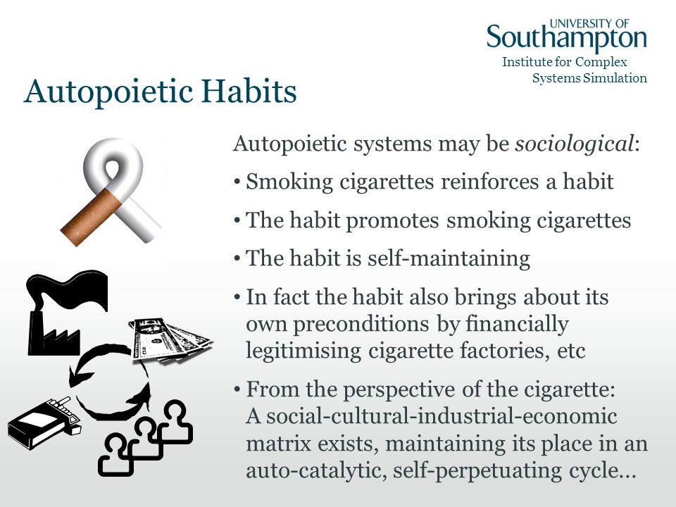 Institute for Complex Systems Simulation Autopoietic Habits Autopoietic systems may be sociological: Smoking cigarettes reinforces a habit The habit promotes smoking cigarettes The habit is self-maintaining In fact the habit also brings about its own preconditions by financially legitimising cigarette factories, etc From the perspective of the cigarette: A social-cultural-industrial-economic matrix exists, maintaining its place in an auto-catalytic, self-perpetuating cycle...