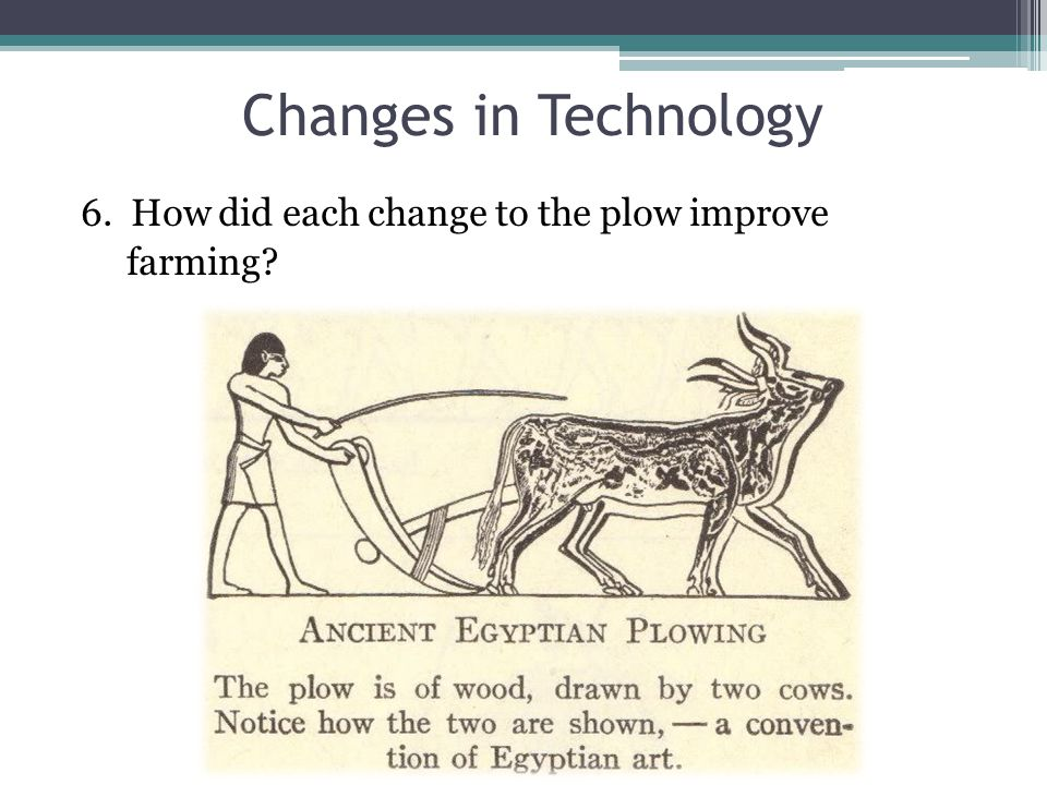 Changes in Technology 6. How did each change to the plow improve farming