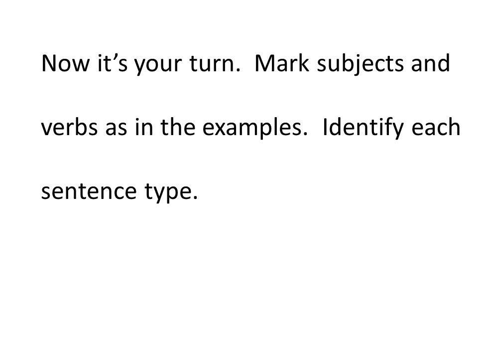 Now its your turn. Mark subjects and verbs as in the examples. Identify each sentence type.