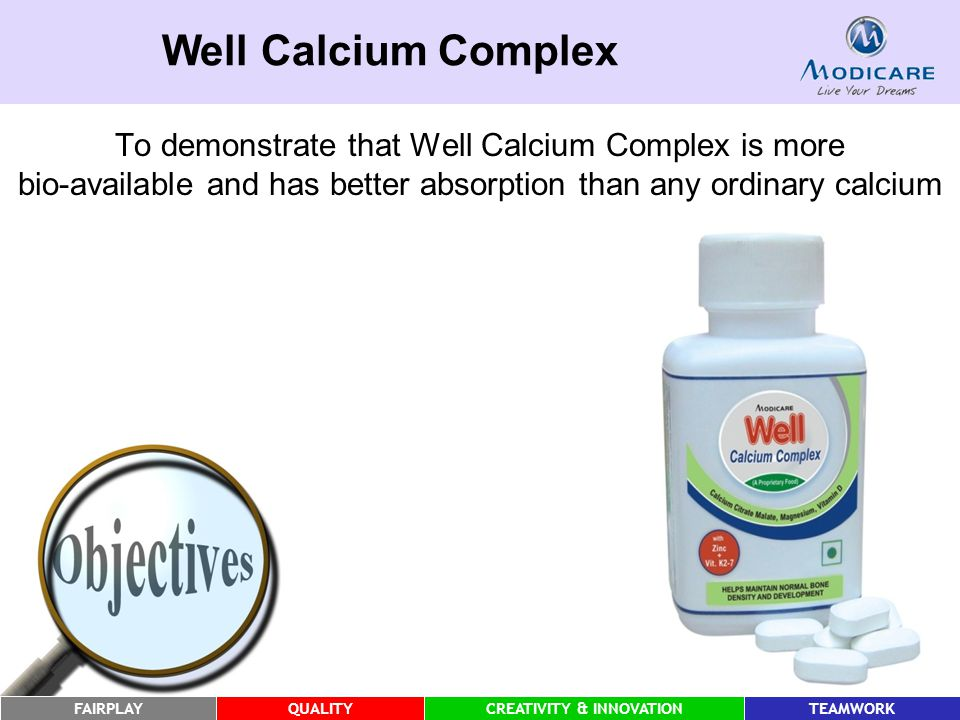 FAIRPLAYQUALITYCREATIVITY & INNOVATIONTEAMWORK Well Calcium Complex To demonstrate that Well Calcium Complex is more bio-available and has better absorption than any ordinary calcium
