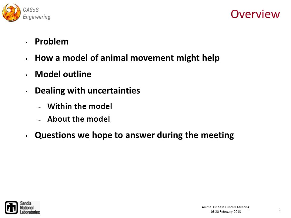 CASoS Engineering Animal Disease Control Meeting 16-20 February 2013 Questions for the Group Basic  Does animal movement contribute to the spread of disease.