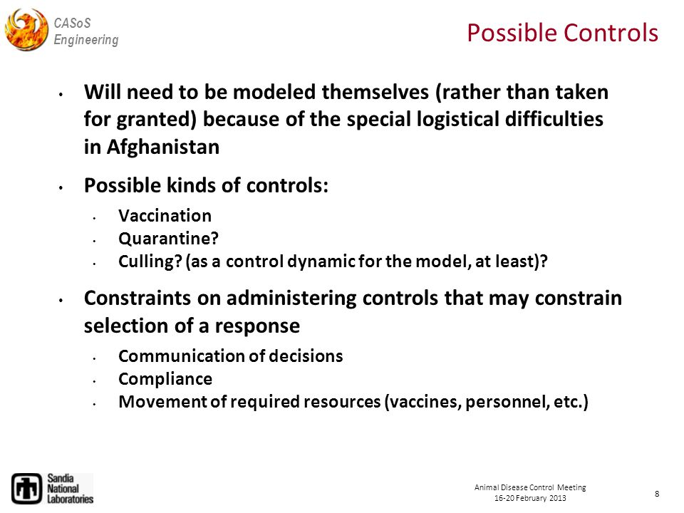 CASoS Engineering Animal Disease Control Meeting 16-20 February 2013 Aspirations Define Analysis Evaluate Performance Define and Evaluate Alternatives Define Conceptual Model Satisfactory.
