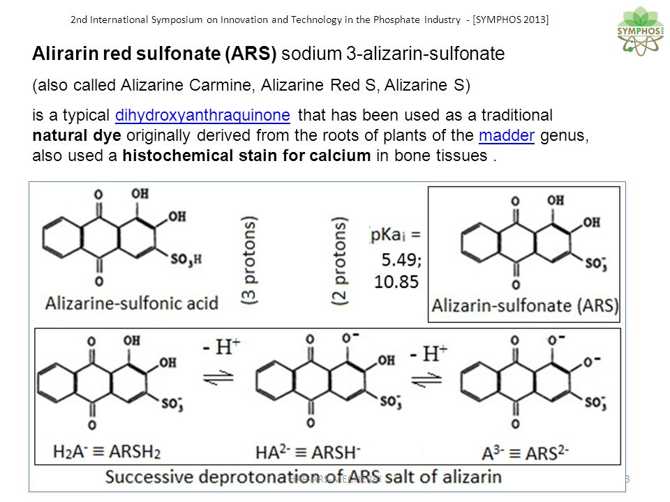 2nd International Symposium on Innovation and Technology in the Phosphate Industry - [SYMPHOS 2013] Titration of Ca/P solution with increasing amounts of alizarin The pH shift is lower than in the case of Ca + Ars with no phosphate, but occurs for 2 ARS for 1 PO4 Thus, Alizarin reacts with surface bound apatite calcium ions We had : Ca/PO4= 1.5 = 3:2 => 2 Ca/2PO4=3 ; the maximum shift occurs for ARS/PO4 = 2 or 2 ARS/PO4 = 4 The complex formulae will be: (ARS) 4 Ca 3 (PO 4 ) 2.