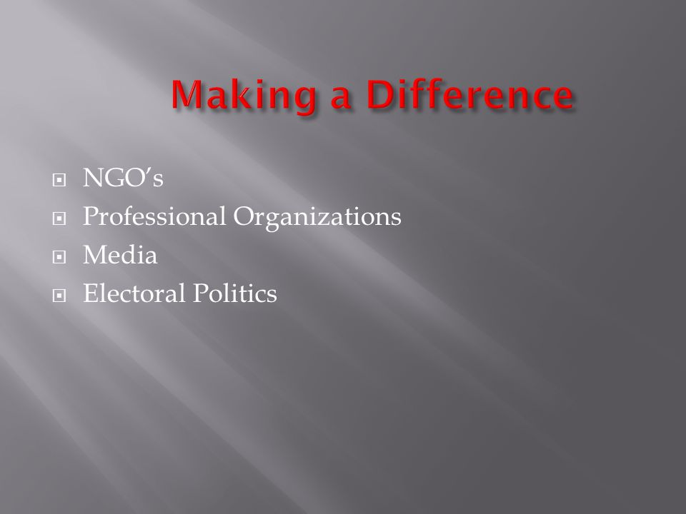 NGOs Professional Organizations Media Electoral Politics