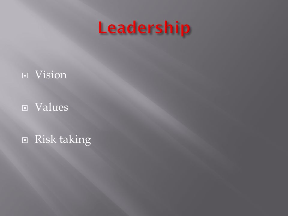 Vision Values Risk taking
