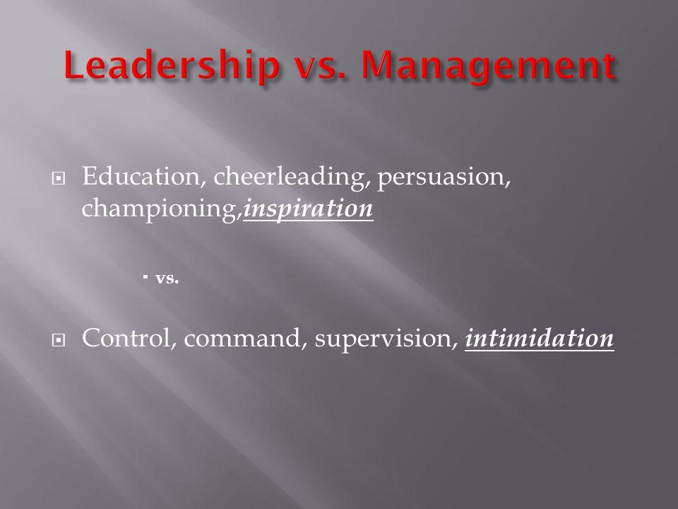 Education, cheerleading, persuasion, championing, inspiration vs.