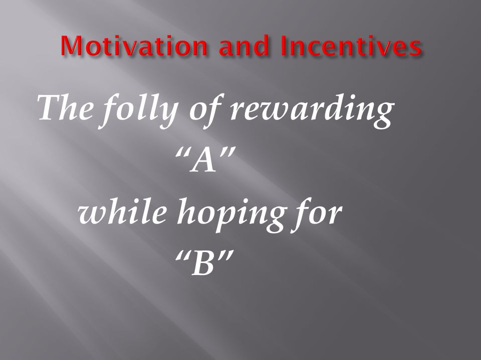 The folly of rewarding A while hoping for B